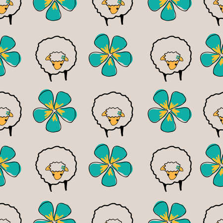 Sheeps and flowers on cream background background, seamless vector patternsurface design