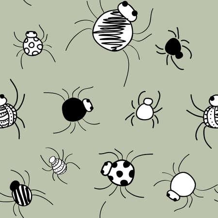 Doodle Spiders on gray pattern seamless vector repeat surface design halloween Vector Illustratie