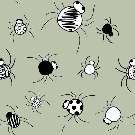Doodle Spiders on gray pattern seamless vector repeat surface design halloween Vektorové ilustrace