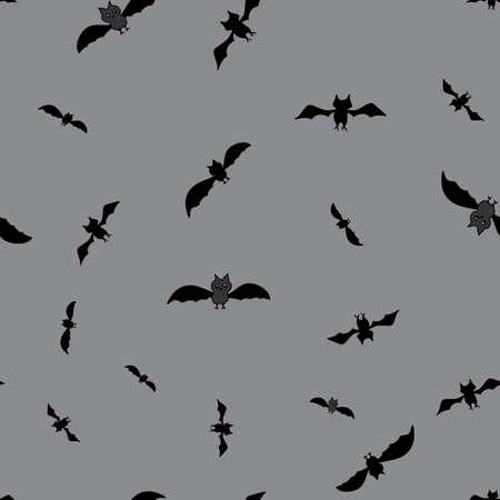Bats in flight seamless repeat vector swarm of bats silhouetted against the gray night sky surface pattern design Vektoros illusztráció