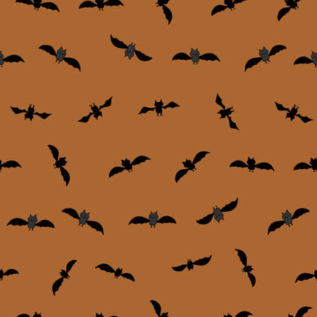Bats in flight in lines black silhouettes on orange halloween background seamless repeat vector surface pattern design