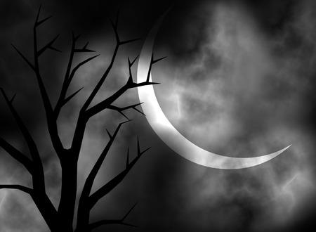 gruselig: Eine dunkle und be�ngstigend mondbeschienene Nacht hintergrund illustration Illustration