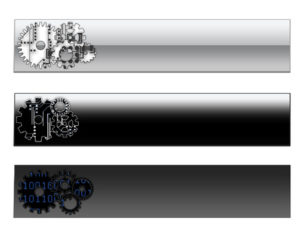 cogs: Tres encabezados de p�gina web bannersp�gina con engranajes y patrones de equipo  Vectores