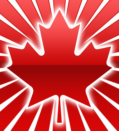 red maple leaf: A red maple Leaf with white Glow Illustration
