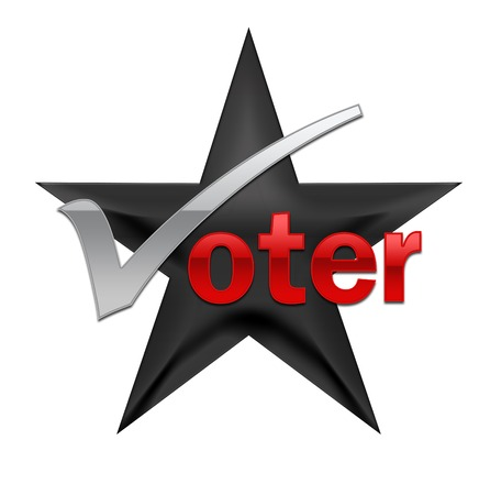voter: A black star featuring a voting message. Illustration