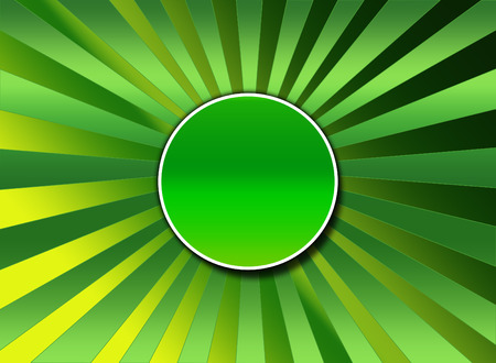 A green two tone sunburst background with a center red button