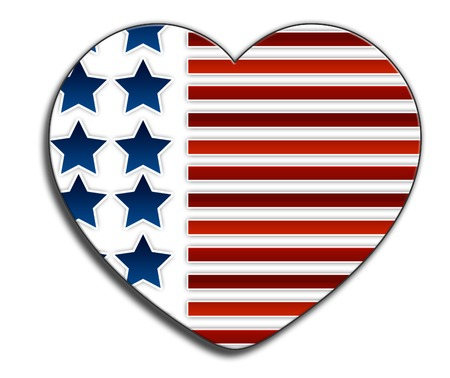 A love heart in the style of the stars and stripes