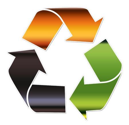 sanificazione: Un simbolo del riciclaggio che illustrano i diversi tipi di vetro