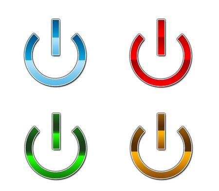 A set of four power button icons in differrent colours Stock Vector - 3084273