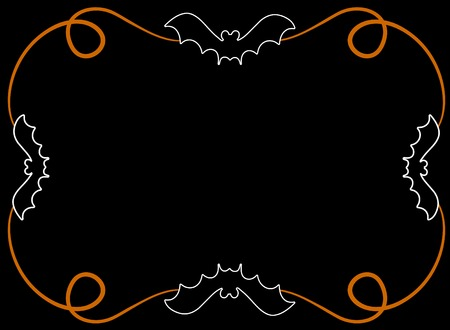 A black page background featuring a decorative bat theme Vector