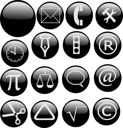 A set of glossy black web buttons Illustration