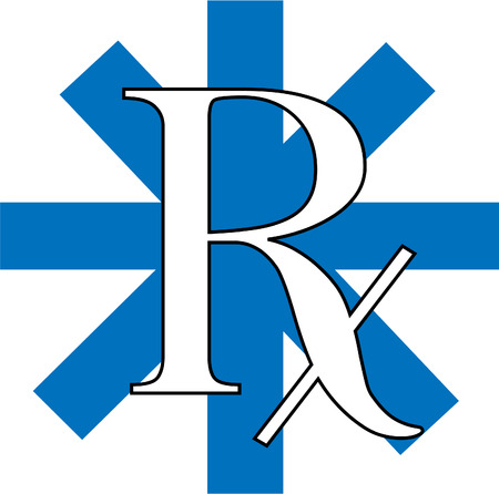 A blue and white RX logo illustration