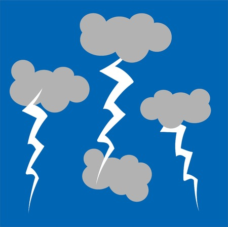 A childlike cartoon style illustratio of a stormy sky,
