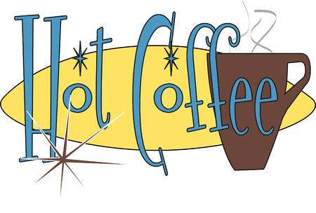 Retro Hot Coffee Illustration