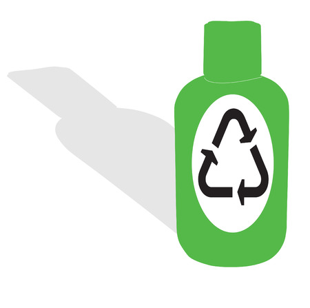 Green bottle with shadow and recycling symbol Stock Vector - 6762752