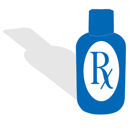 pill prescription: A blue bottle with shadow and RX symbol