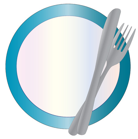 caterer: Blue rimmed Plate with cutlery