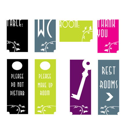 A set of signs for a boutique hotel  Vector