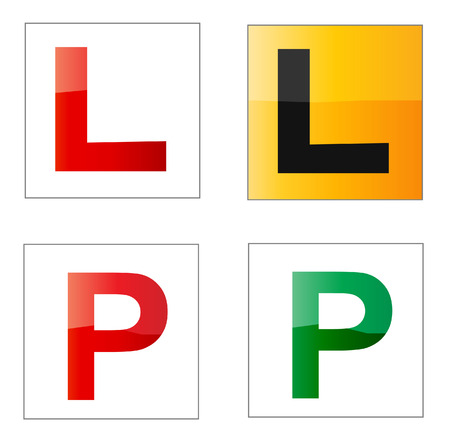 Set of learner and provisional driver plates Illustration