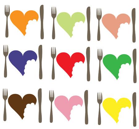 Love Food Love Heart icon set Stock Vector - 6859871