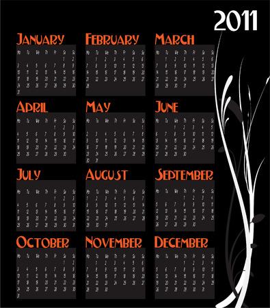 12 month calendar for 2011 Illustration