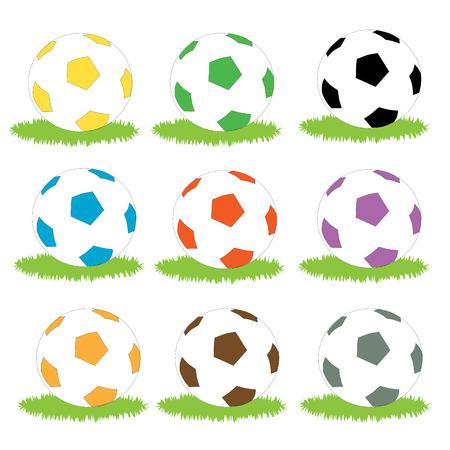 futbol soccer: A st of different coloured soccer balls