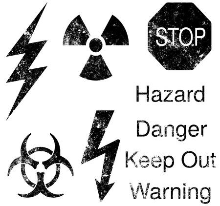 A set of grunge hazard symbols
