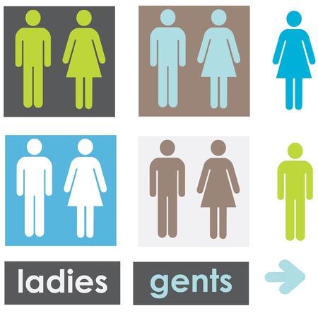 signage: restroom signage Illustration