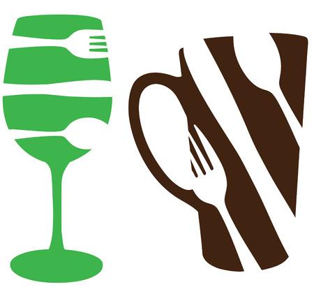 Iconos de concepto de comida y bebida