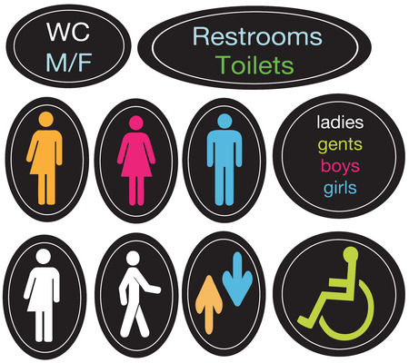 editable set of restroom signs Illustration