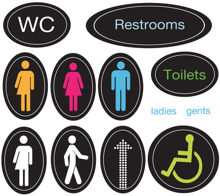 wc: Restroom Zeichen Satz