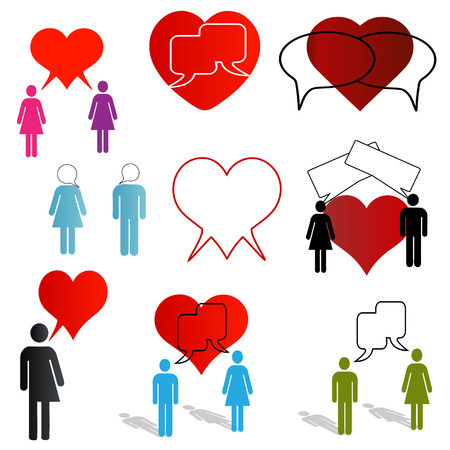 online dating and love chat icons