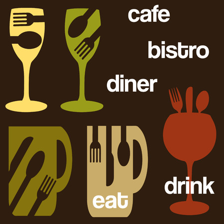 bistro: food and drink cafe concept graphics Illustration