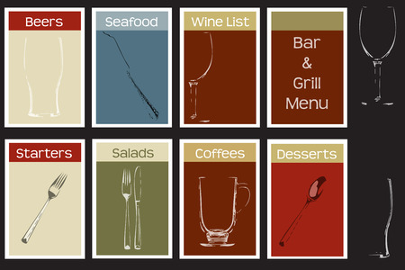 Steakhouse bar and grill concept menu set