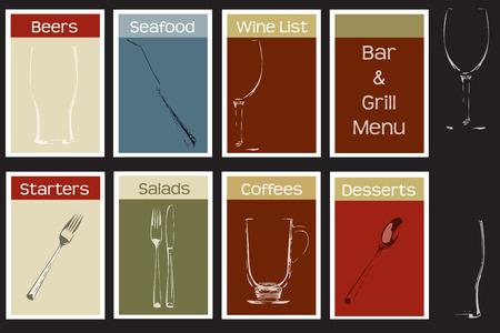 sleek: Steakhouse bar and grill concept menu set