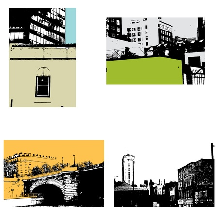 Urban scene vector backgrounds