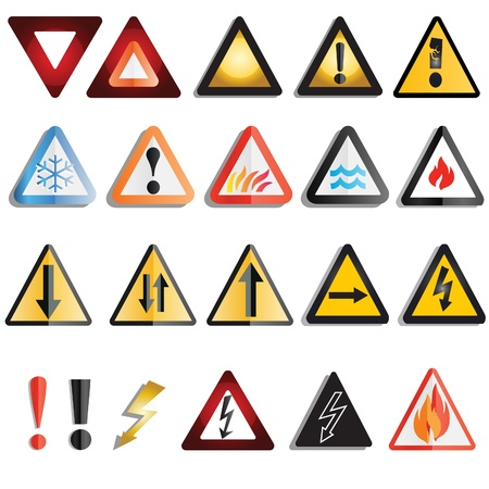 A set of varied warning signs and triangles