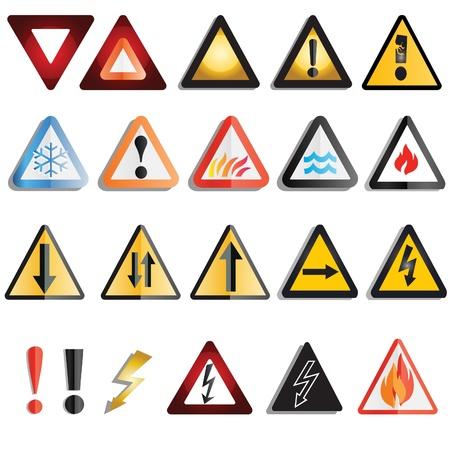 signos de precaucion: Un conjunto de se�ales de advertencia variada y tri�ngulos Vectores