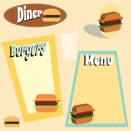 A retro style burger and diner graphic and menu set