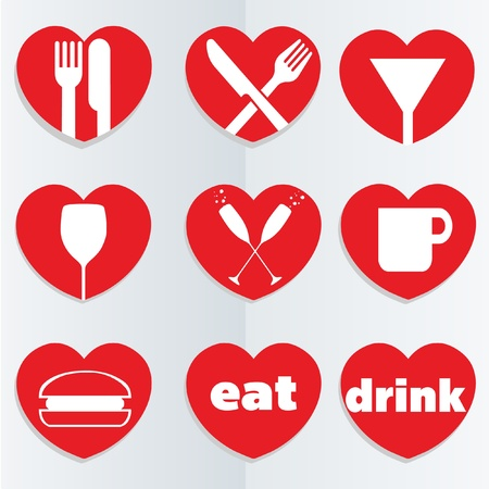 love heart food icons Vector