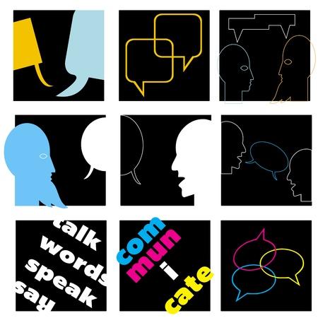 interactions: Een communicatieconcept set Stock Illustratie