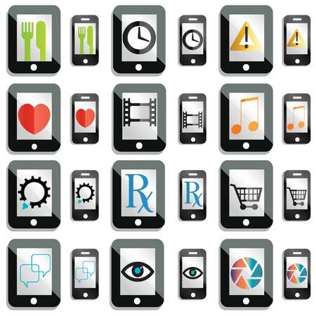 programmes: a set of smartphone and tablet computer icons and buttons Illustration