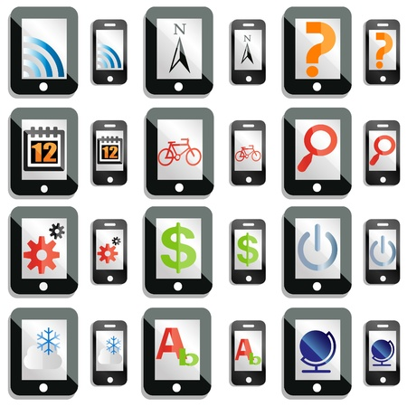 smartphone apps: smartphone and tablet computer icons Illustration
