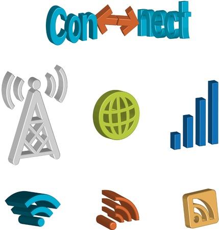 conectividad: Un conjunto de iconos de conectividad a Internet Vectores