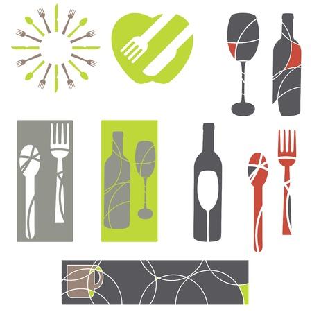 wijn en spijzen: catering en menu-graphics