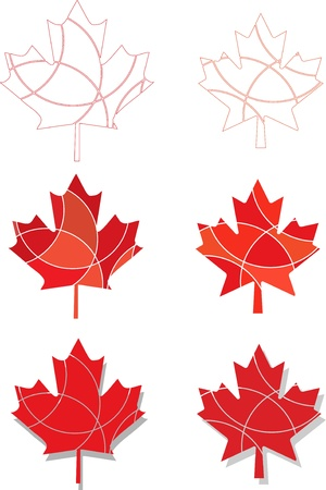 canadian flag: Reg segmented maple leaf icons