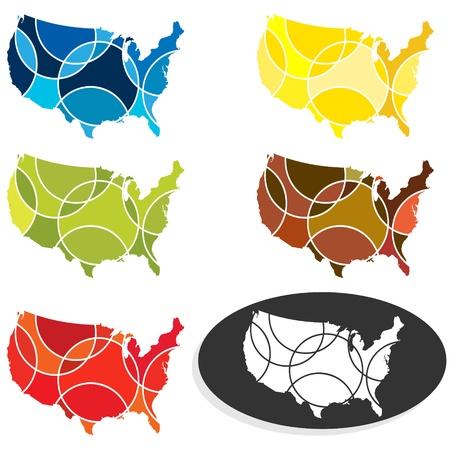 Seasonal colored USA map set Stock Vector - 12483708