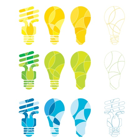 green bulb:  A set of abstract coloured light bulb illustrations in energy related colours Illustration