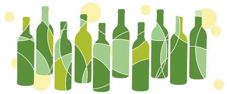 vino: Green wine bottle design Illustration