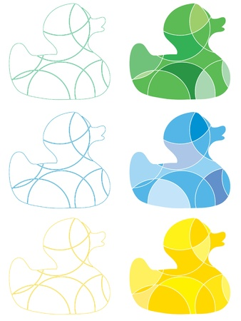 Abstract colourful rubber ducks